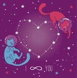 Κοσμική αφίσα για την αγάπη με τους γάτα-αστροναύτες doodle που επιπλέουν στο διάστημα Στοκ φωτογραφία με δικαίωμα ελεύθερης χρήσης