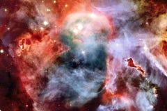 Κοσμικό τοπίο, ζωηρόχρωμη ταπετσαρία επιστημονικής φαντασίας με το ατελείωτο μακρινό διάστημα διανυσματική απεικόνιση