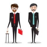 κοστούμια επιχειρησια&kapp Κινούμενα σχέδια επιχειρηματιών Στοκ Εικόνες