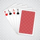 Κοστούμια καρτών μυγών χεριών πόκερ άσσων λέξης παιχνιδιού και ενός κλειστά παιχνιδιού νίκη πόκερ χεριών διανυσματική απεικόνιση