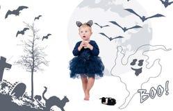 κοστούμι Βενετία καρναβ&al Λίγο κορίτσι μικρών παιδιών στη γάτα κοστουμιών Στοκ εικόνα με δικαίωμα ελεύθερης χρήσης