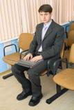 κοστούμι προσώπων lap-top Στοκ φωτογραφίες με δικαίωμα ελεύθερης χρήσης