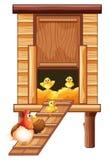 Κοτέτσι κοτόπουλου με την κότα και τους νεοσσούς Στοκ εικόνες με δικαίωμα ελεύθερης χρήσης