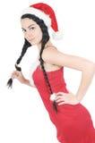 κοτσίδα λαβής κοριτσιών φορεμάτων αρκετά κόκκινη Στοκ Εικόνες