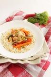 Κοτόπουλο με τα λαχανικά και το ρύζι Στοκ φωτογραφία με δικαίωμα ελεύθερης χρήσης