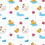 Κοτόπουλο Kawaii και άνευ ραφής σχέδιο παπιών διανυσματική απεικόνιση