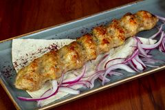 Κοτόπουλο kebab με το κρεμμύδι στοκ εικόνες