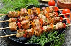 Κοτόπουλο kebab με το πιπέρι κουδουνιών στοκ εικόνα με δικαίωμα ελεύθερης χρήσης