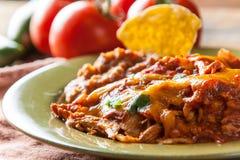 Κοτόπουλου Enchilada Casserole τροφίμων που εξυπηρετείται μεξικάνικο σε Rusitc πράσινο Στοκ φωτογραφίες με δικαίωμα ελεύθερης χρήσης