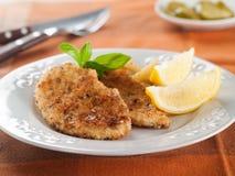 Κοτόπουλο ή χοιρινό κρέας schnitzel Στοκ Φωτογραφία
