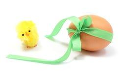 Κοτόπουλο και αυγό Πάσχας με την πράσινη κορδέλλα Στοκ εικόνα με δικαίωμα ελεύθερης χρήσης
