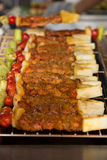 Κοτόπουλο και βόειο κρέας shishkabobs Στοκ φωτογραφία με δικαίωμα ελεύθερης χρήσης
