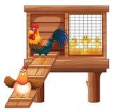 Κοτόπουλο και νεοσσοί στο κοτέτσι ελεύθερη απεικόνιση δικαιώματος
