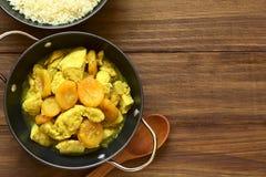 Κοτόπουλο και ξηρό Stew βερίκοκων με το κουσκούς Στοκ Εικόνες