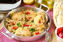Κοτόπουλο και ρύζι με τα λαχανικά Στοκ Φωτογραφία