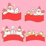 Κοτόπουλο κινούμενων σχεδίων με κόκκινο couplet Στοκ Φωτογραφία