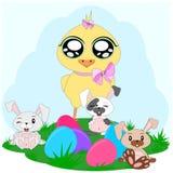 Κοτόπουλο και bunnies κινούμενων σχεδίων Στοκ Εικόνες