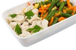 Κοτόπουλο με τα λαχανικά και μαϊντανός στο πλαστικό εμπορευματοκιβώτιο στο μόριο Στοκ φωτογραφία με δικαίωμα ελεύθερης χρήσης