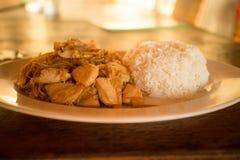 Κοτόπουλο πιπεροριζών με το ρύζι Στοκ Φωτογραφίες