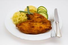 Τηγανισμένο κοτόπουλο schnitzel Στοκ εικόνα με δικαίωμα ελεύθερης χρήσης