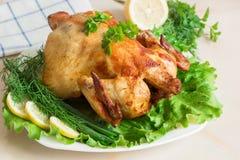 Κοτόπουλο που ψήνεται στη σχάρα σε μια χρυσή κρούστα με τα φρέσκα λαχανικά και το χορτάρι Στοκ φωτογραφίες με δικαίωμα ελεύθερης χρήσης
