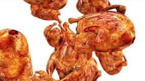 Κοτόπουλο σχαρών που πέφτει, τηγανισμένο κοτόπουλο Σε αργή κίνηση απομονώστε 4k το μήκος σε πόδηα απόθεμα βίντεο