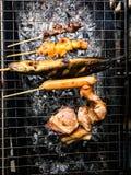 Κοτόπουλο, χοτ ντογκ, σχάρα γατόψαρων στην Ταϊλάνδη Στοκ Εικόνα