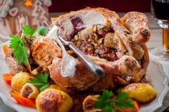 Κοτόπουλο Χριστουγέννων που γεμίζεται με το μπέϊκον, το φυστίκι, το σύκο και το ψωμί Στοκ φωτογραφία με δικαίωμα ελεύθερης χρήσης