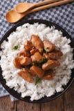 Κοτόπουλο Adobo με ένα δευτερεύον πιάτο της κινηματογράφησης σε πρώτο πλάνο ρυζιού κάθετη κορυφή VI Στοκ Φωτογραφίες