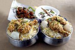 Κοτόπουλο Biryani, Curdrice, kababs Στοκ εικόνες με δικαίωμα ελεύθερης χρήσης