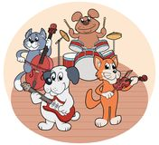 Κουαρτέτο των ζώων που παίζει τη μουσική διανυσματική απεικόνιση