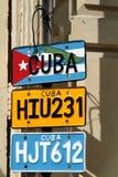 Κουβανικές πινακίδες αριθμού κυκλοφορίας για την πώληση Στοκ εικόνα με δικαίωμα ελεύθερης χρήσης