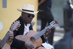 Κουβανικός μουσικός με το καπέλο αχύρου στην Αβάνα, Κούβα Στοκ φωτογραφία με δικαίωμα ελεύθερης χρήσης