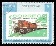 Κουβανικό γραμματόσημο με την ατμομηχανή Στοκ φωτογραφίες με δικαίωμα ελεύθερης χρήσης