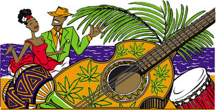 Κουβανικό salsa χορού ζευγών κινούμενων σχεδίων στην παραλία, maracas, κουβανικά ελεύθερη απεικόνιση δικαιώματος