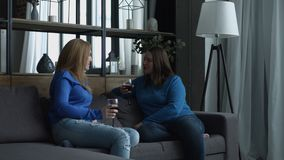Κουβεντιάζοντας γυναίκες που ψήνουν τα ποτήρια του κόκκινου κρασιού στο σπίτι φιλμ μικρού μήκους