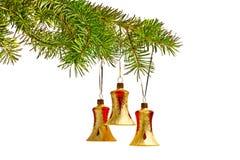 Κουδούνια Χριστουγέννων, διακόσμηση στο δέντρο Στοκ Εικόνες