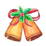 Κουδούνια Χριστουγέννων Watercolor με το ντεκόρ διακοπών ελεύθερη απεικόνιση δικαιώματος