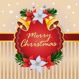 Κουδούνι καρτών Χριστουγέννων ένα διάνυσμα διακοσμήσεων poinsettia διανυσματική απεικόνιση