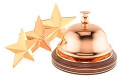 Κουδούνι υπηρεσιών υποδοχής με 3 αστέρια που εκτιμούν την έννοια, τρισδιάστατη απόδοση Στοκ φωτογραφίες με δικαίωμα ελεύθερης χρήσης