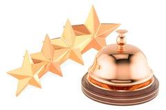 Κουδούνι υπηρεσιών υποδοχής με 4 αστέρια που εκτιμούν, τρισδιάστατη απόδοση Στοκ Φωτογραφίες