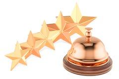 Κουδούνι υπηρεσιών υποδοχής με πέντε αστέρια που εκτιμούν, τρισδιάστατη απόδοση Στοκ εικόνα με δικαίωμα ελεύθερης χρήσης