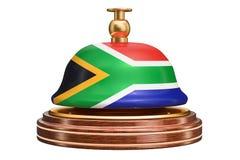 Κουδούνι υποδοχής με τη σημαία της Νότιας Αφρικής, έννοια υπηρεσιών τρισδιάστατο rende Στοκ φωτογραφία με δικαίωμα ελεύθερης χρήσης