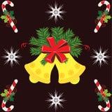 Κουδούνι Χριστουγέννων και ραβδί καραμελών Στοκ Εικόνες