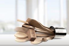 κουζίνα έξι δικράνων ανασκόπησης λευκό εργαλείων Στοκ Φωτογραφία
