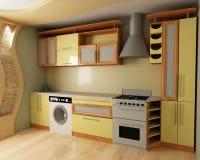 κουζίνα κίτρινη Στοκ φωτογραφίες με δικαίωμα ελεύθερης χρήσης