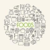 Κουζίνα και μαγειρεύοντας εικονίδια περιλήψεων υποβάθρου τροφίμων καθορισμένες διανυσματική απεικόνιση