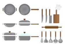 Κουζίνα και σύνολο εξοπλισμού μαγειρέματος Στοκ Εικόνες