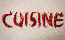κουζίνα Λέξη με το ξηρό κόκκινο - καυτό πιπέρι τσίλι στοκ εικόνα