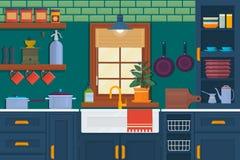 Κουζίνα με τα έπιπλα Άνετο εσωτερικό δωματίων με τον πίνακα, τη σόμπα, το ντουλάπι και τα πιάτα Επίπεδη διανυσματική απεικόνιση ύ διανυσματική απεικόνιση